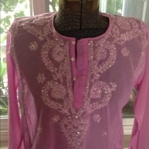Hot pink sheer India tunic top with embroidery